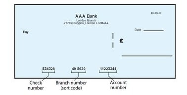 Bank Sort Code On Check